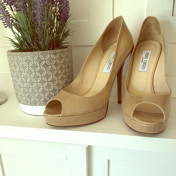 b097eef0c6e0 Authentic Jimmy Choo Nude Patent Leather Heels